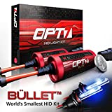 OPT7 Blitz Bullet HID Kit Powerful 'Mount-Less' Ballasts - All Colors and Sizes Simple DIY Install - 2 Yr Warranty [H11 H8 H9 - 6K Lightning Blue Xenon Light]