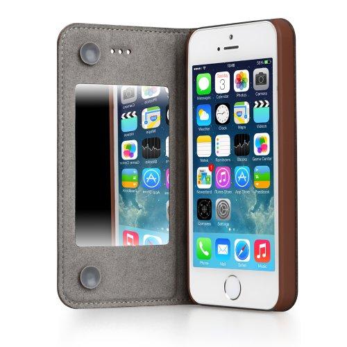 GGMM Kiss-M iPh01906 echtes Leder Abdeckung Schutzhülle mit Spiegel für Apple iPad/iPhone 5/5S braun