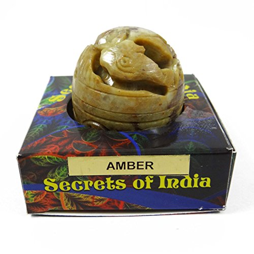 (Natural AMBER Solid Perfume Body Musk In Stone Jar 8 Gms)