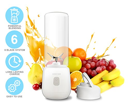 USB Rechargeable Travel Juicer Blender   6-Blade System Portable Personal Blender   Li-Ion Battery – Durable Glass Bottle   Ideal for Smoothies, Ice Crushing, Frozen Fruits   User-Friendly Design by KKSTAR.