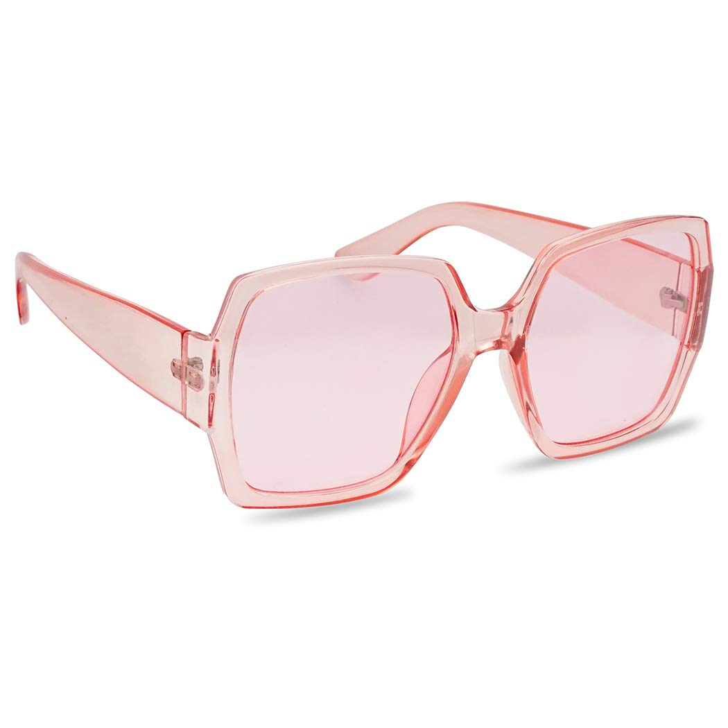 Extreme Oversize Square Colorful Transparent Designer Inspired Super Flat Acrylic Sun Glasses (Pink Frame | Pink) by SunglassUP