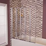 5 Fold Bath Screen Glass Shower Tub Folding Door with Rubber Seal
