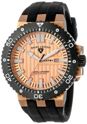 Swiss Legend Men's 10126-RG-09-BB Challenger Rose Gold Tone Textured Dial Black Silicone -