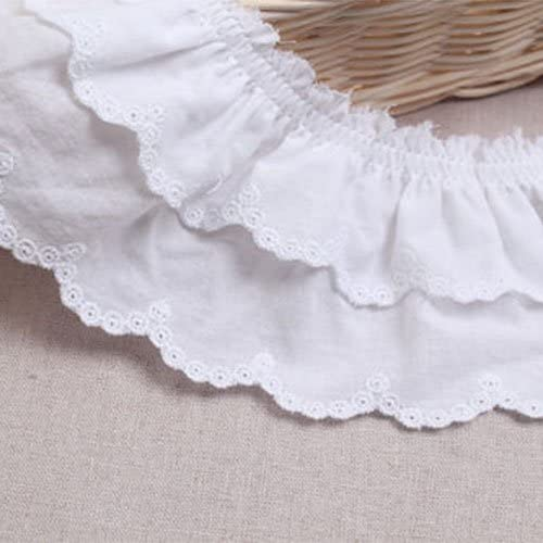 1yard Broderie Anglaise Gathered Cotton Eyelet lace Trim 7.5cm YH1464a White