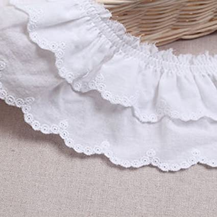 1 1.5 2 2.5 3.75 White Cotton Gathered Scalloped Ruffled Eyelet Lace Trim Sewing Notions Crafts Supply 1/_3holes/_5yds