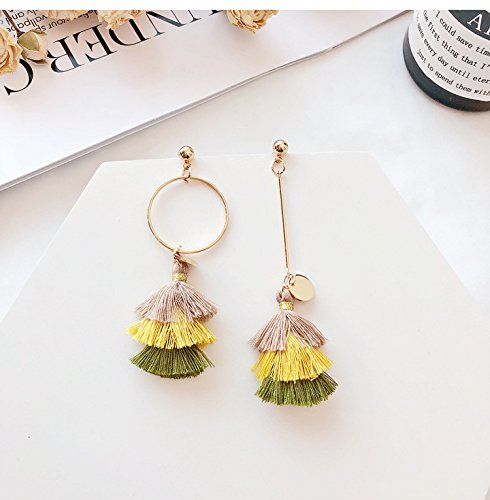 High-Season MENGJIQIAO New Bohemia Colorful Tassel Long Earrings Women Big Circle Asymmetry Earrings Brincos For Girls Fashion Jewelry (ฺYellow)