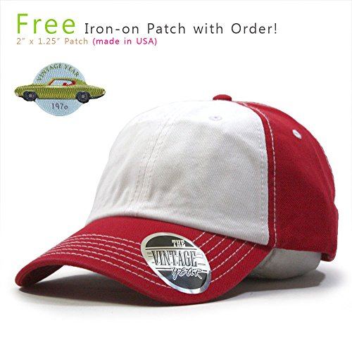 Classic Washed Cotton Twill Low Profile Adjustable Baseball Cap (Red/White/Red A)