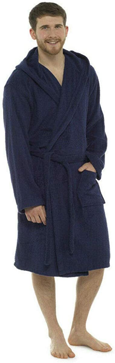 Fashion by Purdashian Mens Fleece Or Cotton Towelling Bath Robe
