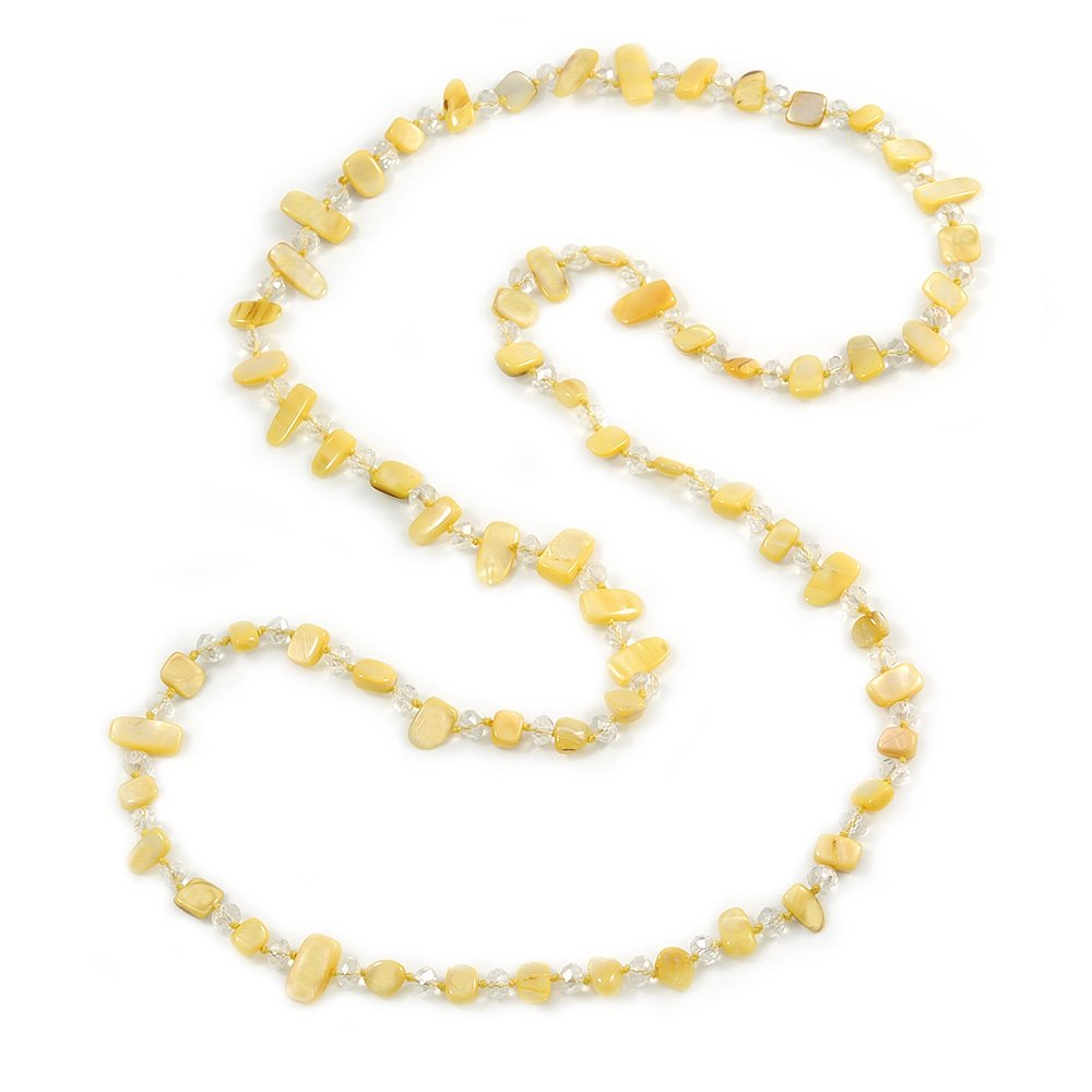 120cm L Avalaya Long Daffodil Yellow Shell//Transparent Glass Crystal Bead Necklace