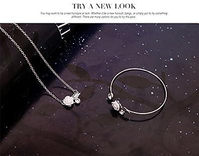 7fa15a2dc3e45 Mjartoria Parure argent avec pendentif d'un bracelet et de boucles  d'oreilles d'une fleur blanche pour femme: Amazon.fr: Bijoux
