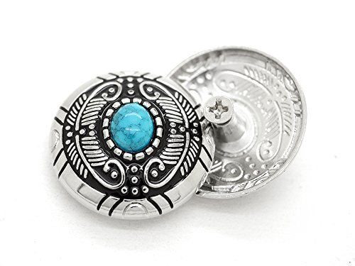 (CRAFTMEmore Decorative Concho Feather Faux Turquoise Flower Navajo Wallet Indian Charm Screw Back Buttons Leather Craft 1 1/8 Inches 2PCS CHS56 (Silver))