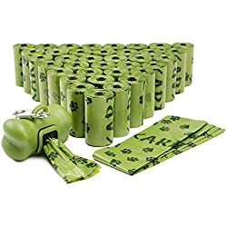FINNKARE 1000 Counts Pet Dog Waste Bags Poop Bags Heavy Duty Leak-Proof Biodegradable Scented Includes Dispenser and Leash Clip,Green