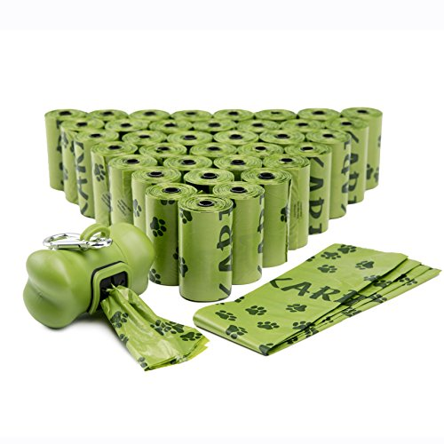 - FINNKARE 1000 Counts Pet Dog Waste Bags Poop Bags Heavy Duty Leak-Proof Biodegradable Scented Includes Dispenser and Leash Clip,Green