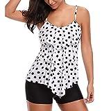 PASATO 2019 New!Women 2 Piece Flounce Dots Printed Tops Bottoms Bikini Set Swimsuits Ruffle Swimwear(White,M)