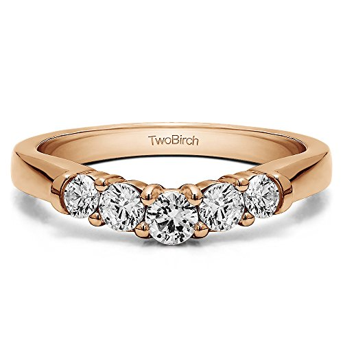 Diamonds(G-H,I2-I3) Contoured Ring In Rose Gold Plated Silver(0.25Ct)Size 3 To 15 in 1/4 Size Interval by TwoBirch