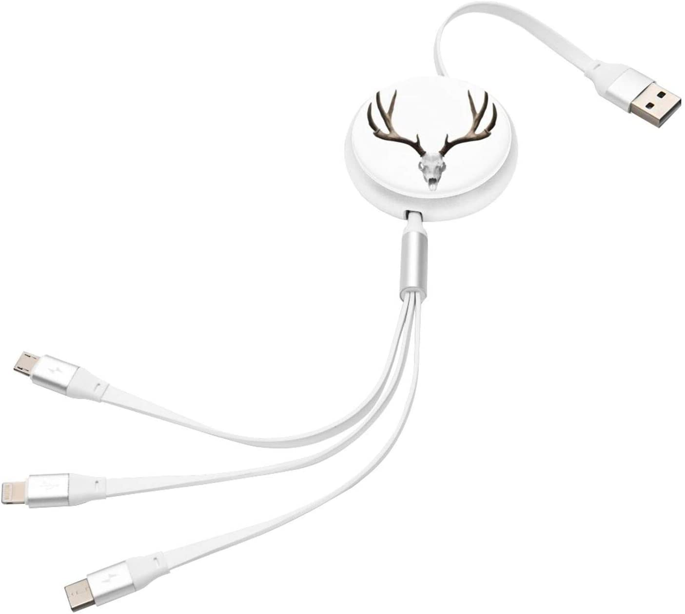 Multi Charging Cable Portable 3 in 1 A Deer Skull Skeleton Head Bone Halloween Weathered Hunter Theme Motif USB Cable USB Power Cords for Cell Phone Tablets and More Devices Charging