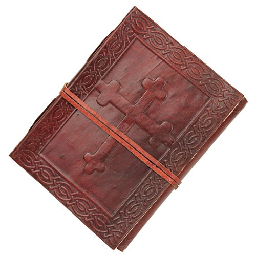 (Armory Replicas Handmade Embossed Celtic Angelic Cross Leather Diary)