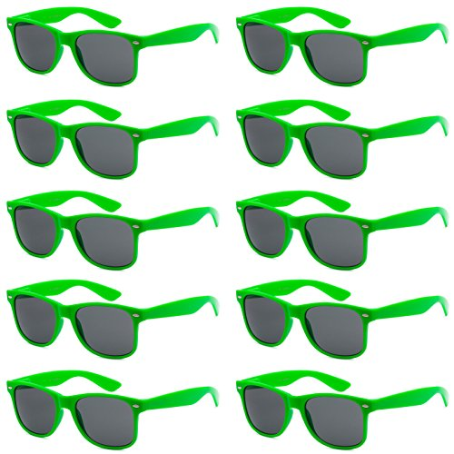 WHOLESALE UNISEX 80'S STYLE RETRO BULK LOT SUNGLASSES (Kryptonite Green, Smoke)