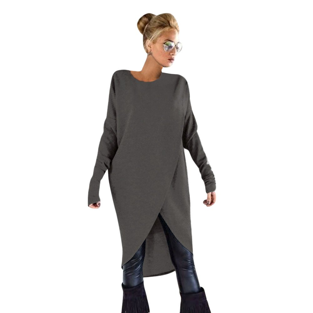 ZOMUSA Hot Sale Fashion Women's Asymmetric Hem Long Sleeve Loose Hoodies Sweatshirts Dress Casual Sweatshirts Tops (XXL, Dark Gray)