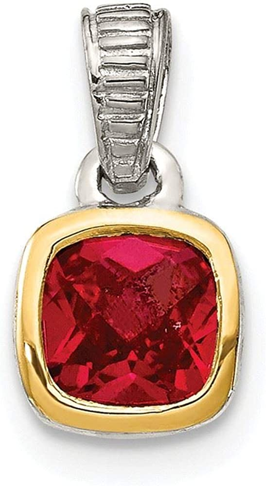 Shey Couture Sterling Silver and Gold-Tone Accent Created Ruby Pendant