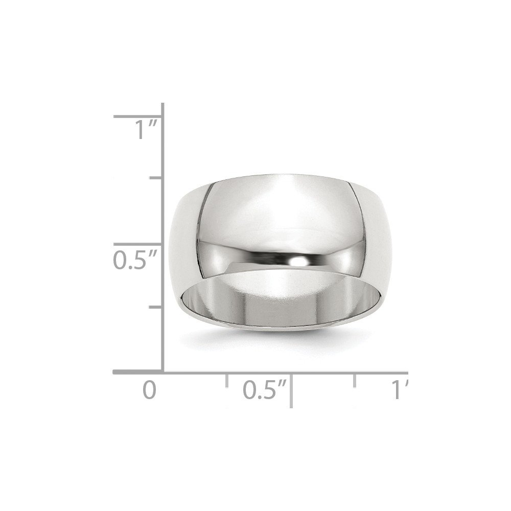 JewelrySuperMart Collection Sterling Silver 10mm Plain Half-Round Classic Wedding Band