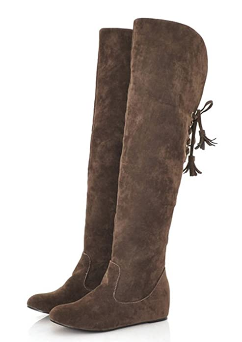 1c203ddbf13bf Aisun Women's Warm Comfy Back Lace Up Height Over Knee Boots