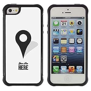 WAWU Funda Carcasa Bumper con Absorci??e Impactos y Anti-Ara??s Espalda Slim Rugged Armor -- you are here maps marker gps minimalist -- Apple Iphone 5 / 5S