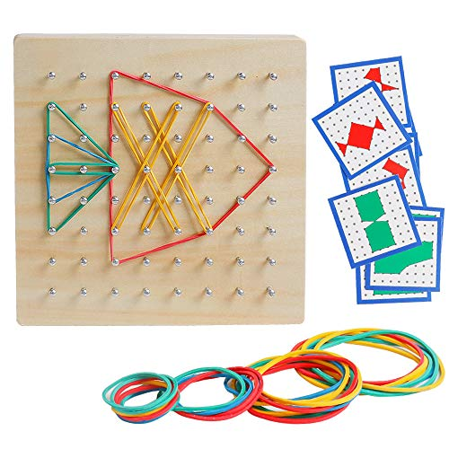 (kizh Wooden Geoboard Mathematical Manipulative Material Graphical Educational Toys Array Block Geo Board with 23 Pcs Pattern Cards and Rubber Bands Classpack Puzzle Matrix 8x8 Brain Teaser Toys)