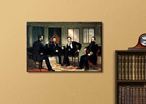 The Peacemakers (Abraham Lincoln at Civil War Time) by George Peter Alexander Healy Famous Fine Art Reproduction World Famous Painting Replica on Print Wood Framed