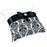 Lillian Rose Damask Ring Pillow, 7.5-Inch, Black