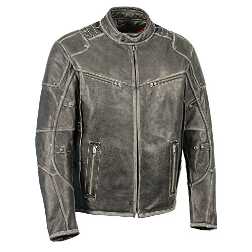 Milwaukee Leather Men's Triple Vented Jacket w/Side Stretch-Distressed Gry-X-Large Grey (Blade Motorcycle Jacket)
