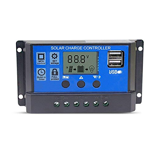 Solar Charger Controller 10A Solar Panel Battery Controller 12V/24V PWM Auto Parameter Adjustable PWM LCD Display Intelligent Regulator with Dual USB Load Timer Setting ON/OFF Hours