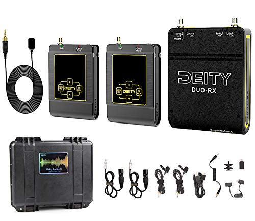 (DEITY Connect 2.4G Wireless Lavalier Microphone, Dual-Channel Receiver & Two Transmitters, OLED Daylight Display Screen, 24bit/48Khz Uncompressed Audio, 10-Hour Battery Recharges in 1 Hour, Bag-Ready)