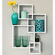 Greenco Decorative 4 Cube Intersecting Wall Mounted Floating Shelves- White Finish