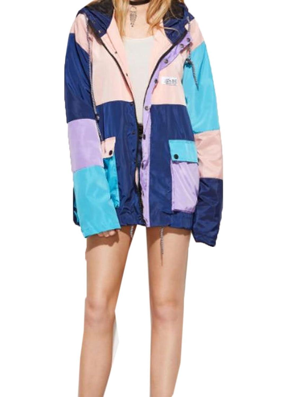 Binn Women's Fashion Fit Hooded Hit Color Classic Zipper Coat Jacket Tops