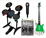 Xbox 360 Rock Band BEATLES Video Game BUNDLE Set with wireless drums, wireless guitar and USB microphone RB music hero
