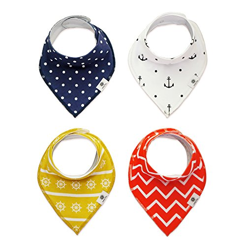 Bandana Drool Bibs Absorbent Cotton 2 Snaps, Smiling Baby 4 - Pack Baby Teething Bibs, Unisex Cute Baby Shower Gifts for Boys and Girls (Navigation)