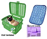 1 Safe Pet Cat Carriers Easy Open Wide Top Load Door Fully Assembled Easily Place See Cats Dogs Rabbit Small Animals Size Inside approx:15.38x11.13x9.88 ''Outside 16x11.75x9.89'' Soft Fur Mat(Green)