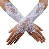 Image of KINGSO Sexy Fingerless Pearl Lace Satin Gloves Bride Wedding Party Costume