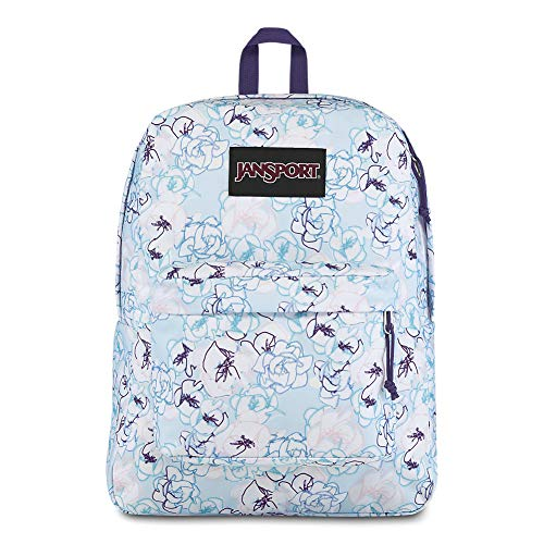JanSport Black Label Superbreak Backpack - Lightweight School Bag | Blue Sketch Floral Print (Best Sketches Of Girls)