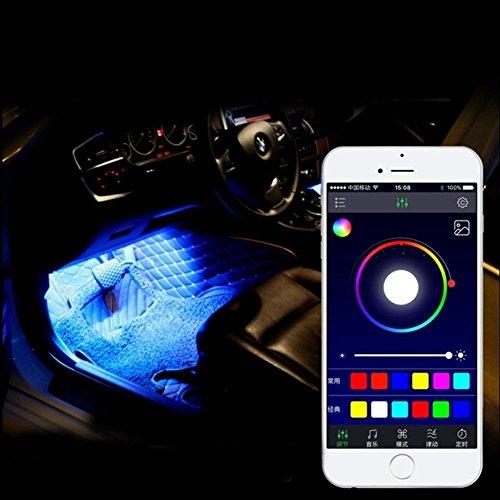 SJPLIght Car LED Strip Lights, 4 Pcs 48 LEDs Car Interior RGB Music Atmosphere Floor Underdash Lights, APP Control Bluetooth Light Kit for Iphone/Android/Google Phones by SJPLIght (Image #5)'