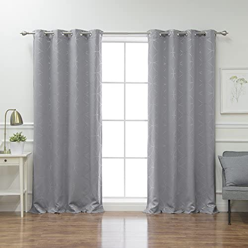 Best Home Fashion Circle Foil Blackout Curtains – Stainless Steel Grommet Top – Grey – 52 W x 108 L Set of 2 Panels