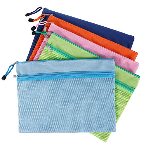 Pencil Pouch A4 Zipper Pouch PVC Zip File Folder with Mesh Window Warterproof Double Layer 10 Pcs 6 Colors