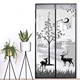 Magnetic Screen Door Auto Snap Shut 35''x82'' with Full Frame Velcro Anti Mosquito and Insect Easy Go Through Screen Door Mesh (Grey)