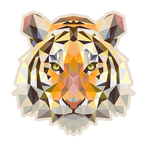 Tigers Poly Stripe - Dark Spark Decals Low Poly Geometric Tiger - 5 Inch Full Color Vinyl Decal for Indoor or Outdoor use, Cars, Laptops, Décor, Windows, and More