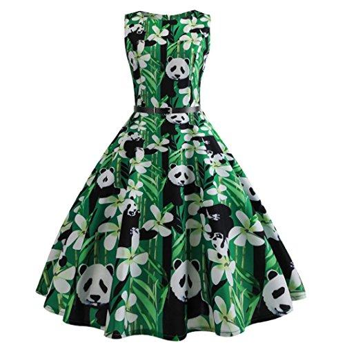Chinese Treasure Panda Tank Dress for Women Swing Sleeveless Dresses ()