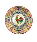 Handmade Pottery Uzbek Traditional Dish Plate''Lagan'' - Artistic ceramic Glazed hand made plaque - Perfect for serving food - Can be used as a wall art or decoration (14 inch, Bird Drawing)