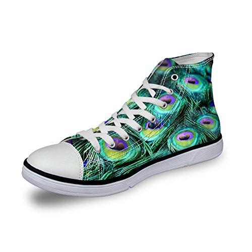 Pour U Conçoit Des Chaussures De Toile Haut Haut Womens Légers Plumes De Paon Empreintes De Plumes Peacock Feather 2