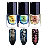 BORN PRETTY 3 Bottles Nail Art Chameleon Stamping Polish New Style Unicorn Manicure Plate Printing Lacquer Varnish Black Base Needed