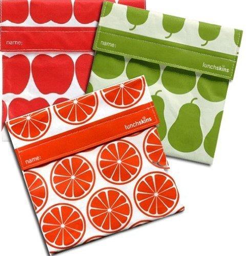 Lunchskins 3pk Reusable Sandwich Bags: Apple Orange Pear